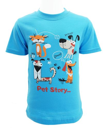 """Футболка для мальчика 1-4 года Dias kids """"Pet story"""" голубая"""