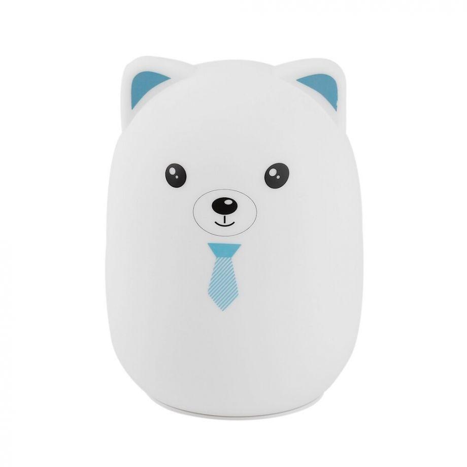 Мягкий Силиконовый Ночник Colorful Silicone Lamp, Голубой Мишка с галстуком