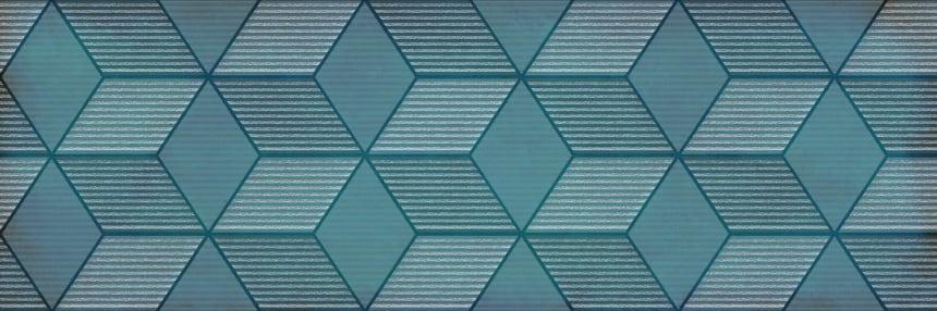 1664-0185 Настенная плитка декор Парижанка 20x60 гексагон бирюзовая