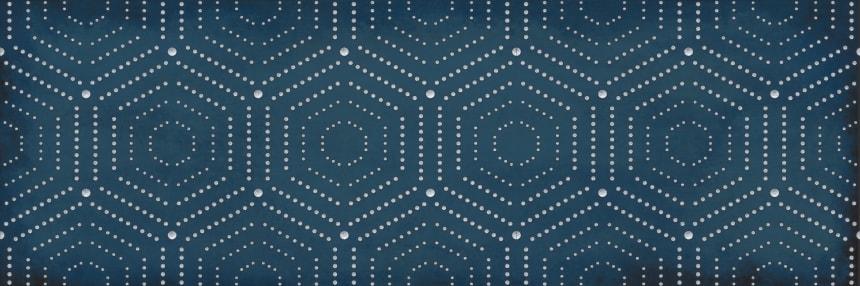 1664-0180 Настенная плитка декор Парижанка 20x60 геометрия синяя