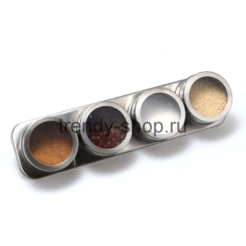 Емкость для специй 4шт. на магнитной пластине Magnetic Spice Rack