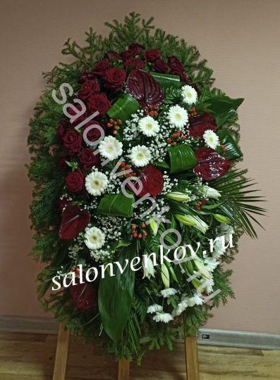 Элитный траурный венок из живых цветов №5, РАЗМЕР 100см,120см,140см,170см