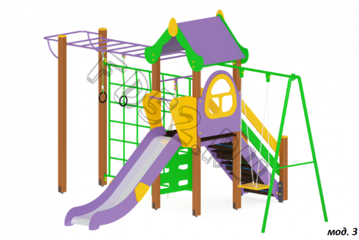 Детский игровой комплекс «Теремок» H=1200 5350х4200х3000