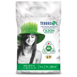 Удобрение сухое Террасол минеральное для Газона весна-лето с микроэлементами ведро 5 кг
