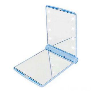 Косметическое карманное зеркало с подсветкой Led Light Mirror, Цвет: Голубой