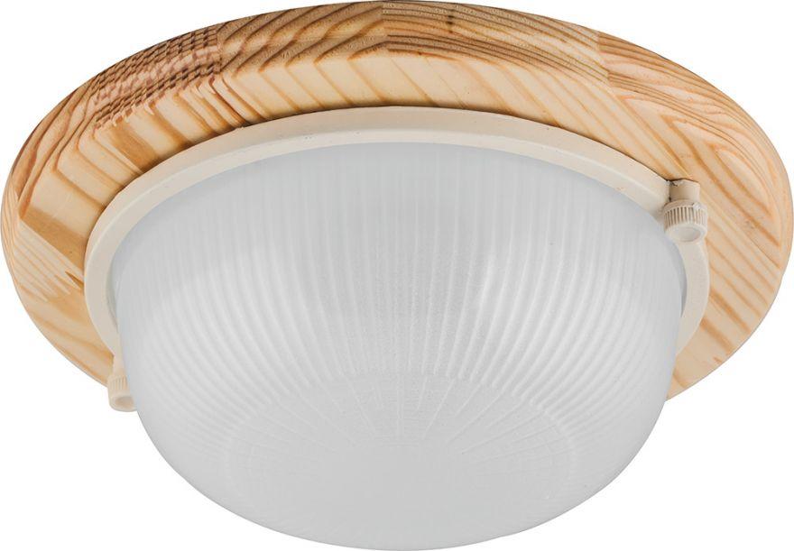 Светильник накладной IP54, 220V 60Вт Е27, дерево, клен, круг НБО 03-60-011