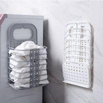 Пластиковая складная настенная корзина для белья, серый