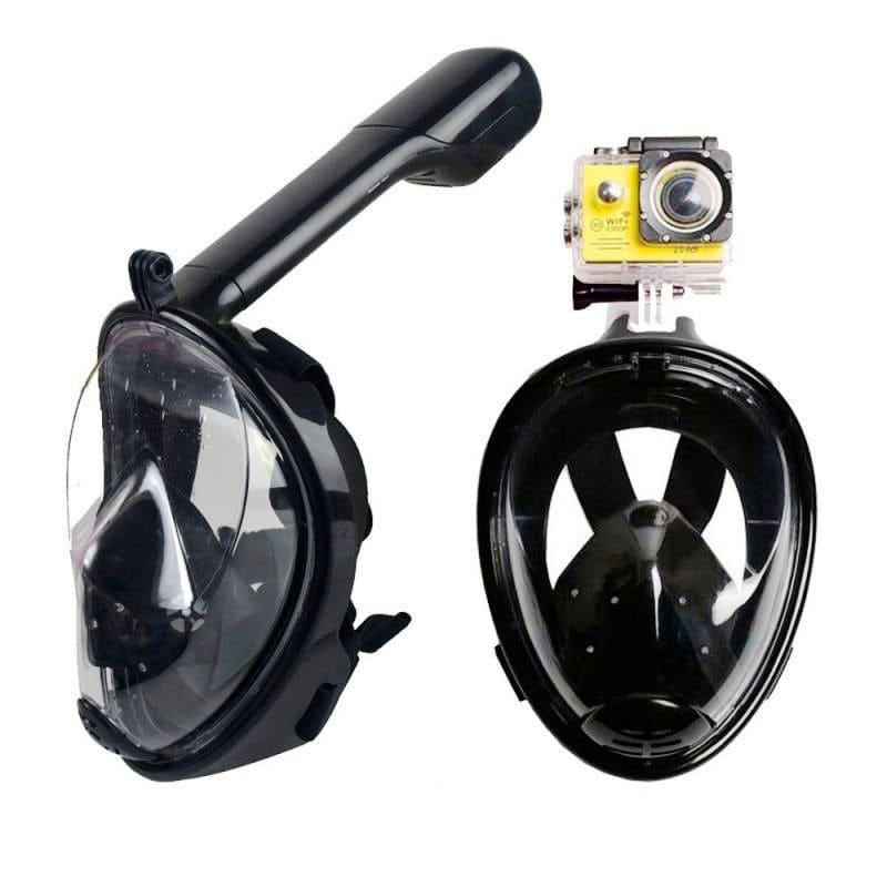 Маска для подводного плавания (снорклинга) Free Breath полнолицевая с креплением для экшн-камеры, размер S/M, черная