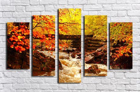 Модульная картина Ручей в лесу
