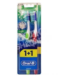 Зубная щетка ORAL B 3 D White Свежесть 40 средняя 1+1 шт бесплатно