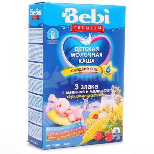 Каша Bebi Премиум 200 гр мол. 3 злака с малиной и мелисой Для сладких снов с 6 мес.