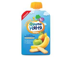 Пюре Фрутоняня яблоко-банан-груша-печенье 0,09 кг