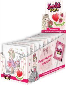 Карамель леденцовая SWEET POPS открытка с карамельным сердцем 10гр