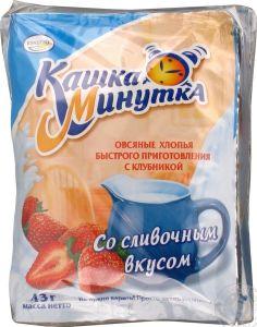 Каша овсяная минутка Клубника со сливками 43 гр