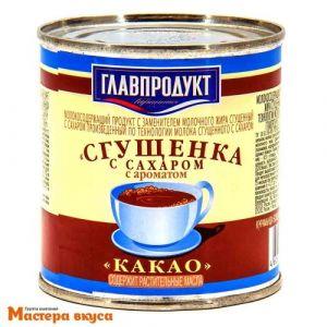 Молокосодержащий продукт Сгущеное молоко 380 гр С ароматом какао ГлавПродукт ж/б