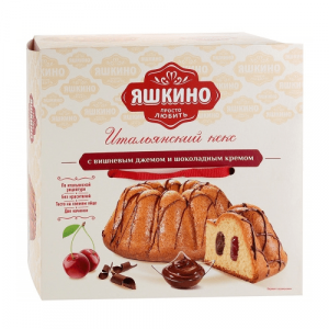 Кекс Яшкино С вишнев. джемом и шоколадным кремом 500 г.