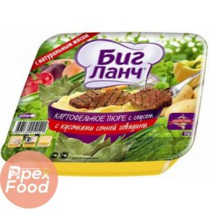 Лапша яичная с кусочками сочной говядины (лоток) 110г*24 БИГ ЛАНЧ