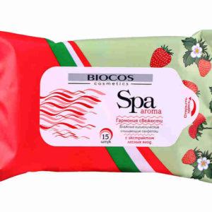Влажные салфетки BIOCOS 15шт SPA Aroma/лесная ягода