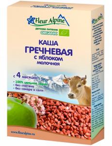 Каша Флер Альпин 200 гр Молочно-гречневая с яблоком с 4мес.