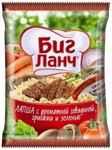 Лапша яичная с ароматной говядиной, грибами и зеленью 75 г*60 брикет БИГ ЛАНЧ