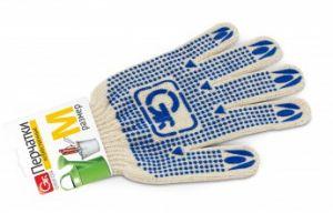 Перчатки GRIFON х/б с ПВХ напыление 55 г,р-р М белые , штрих-код 10/80