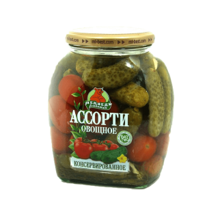 Ассорти овощное 720 мл (помидоры+огурцы) Медведь Любимый