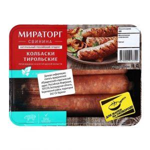 Колбаски свиные Тирольские с/м 400гр ГЗМС Мираторг Россия