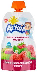 Пюре фруктовое Агуша 90 гр Ябл-клубника-малина
