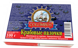 Палочки Крабовые 100гр Колумбус
