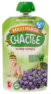 Пюре Маленькое счастье 90г Яблоко/Черника (гуалапак)