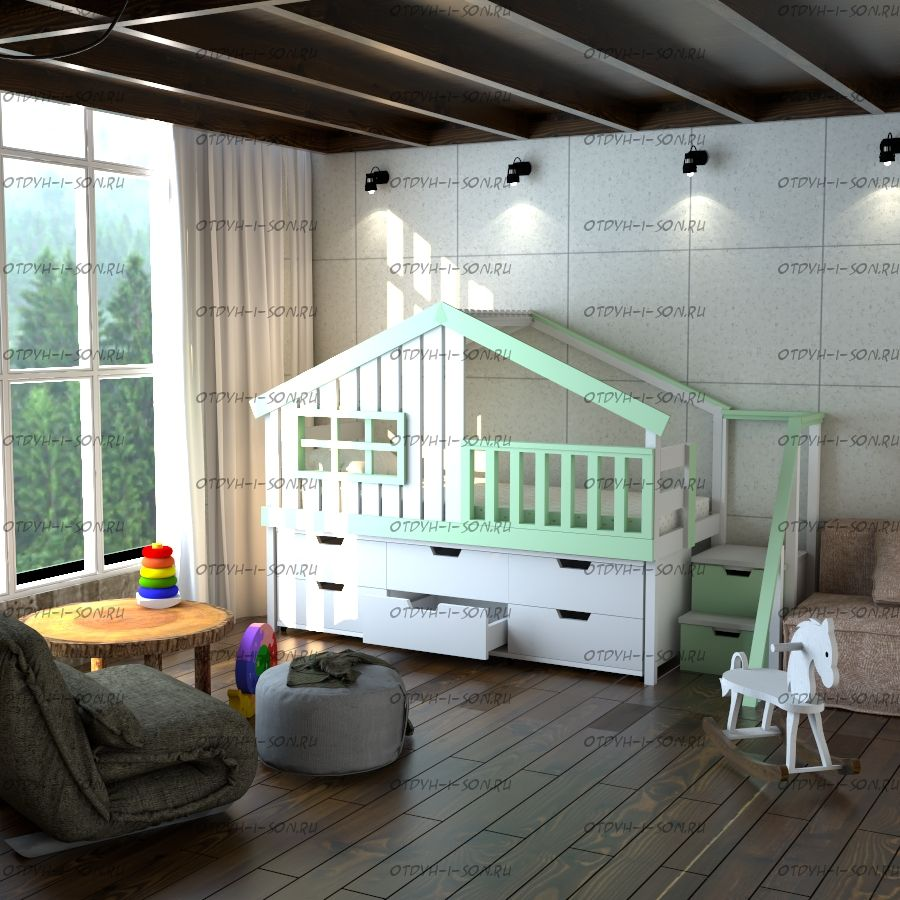 Кровать-чердак Домик Factory №15