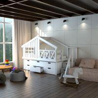 Кровать-чердак Домик Calipso №10
