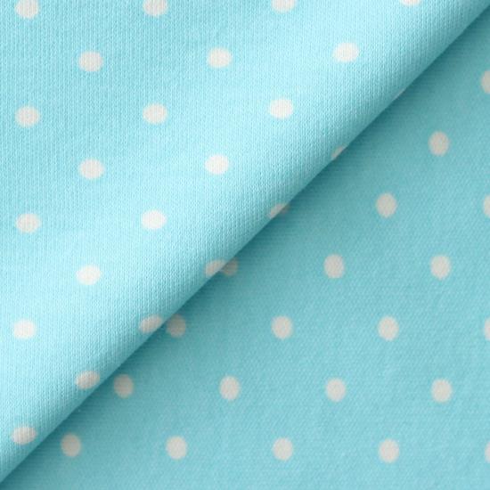 Лоскут трикотажной ткани Голубой в белый горошек