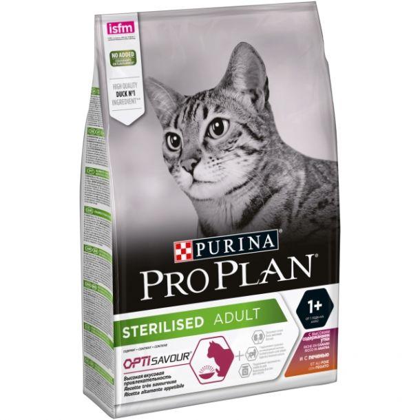 Корм сухой Pro Plan Optisavour Sterilised для стерилизованных кошек и кастрированных котов, с уткой и печенью 10кг