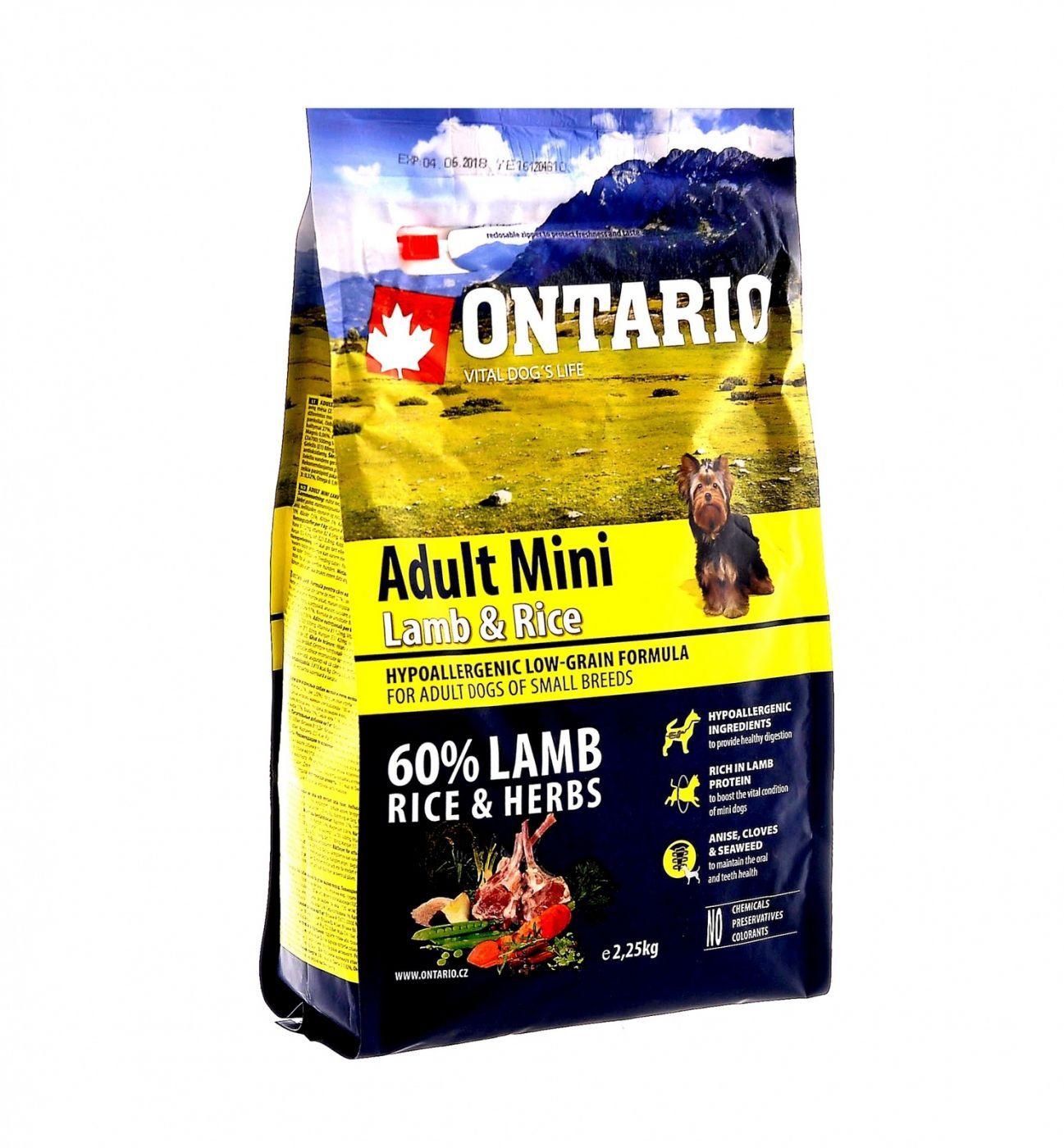 Ontario Для собак малых пород  с ягненком и рисом