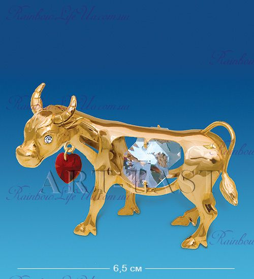 """Статуэтка бык с сердцем с камнями """"Swarovski"""""""