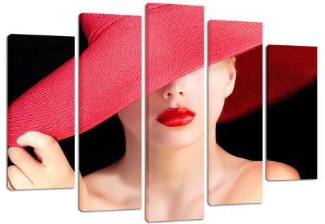 Модульная картина Девушка в красной шляпе