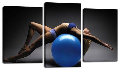 Модульная картина Девушка на синем шаре