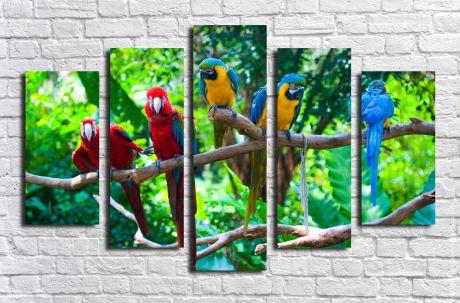 Модульная картина Попугаи на ветке