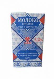 Молоко ТЯЖИН 3,2% т/п 1л