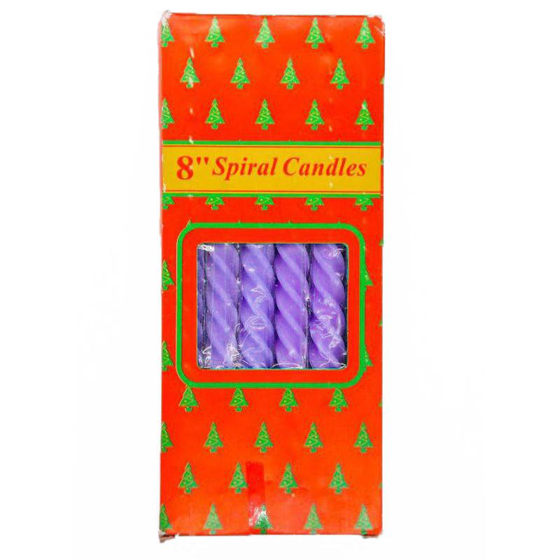 Свечи парафиновые витые Spiral Candles 20см 12шт (цвет фиолетовый)
