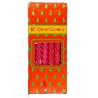 Свечи парафиновые витые Spiral Candles 20см 12шт (цвет красный)