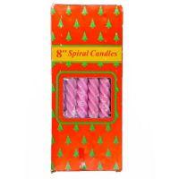 Свечи парафиновые витые Spiral Candles 20см 12шт (цвет розовый)