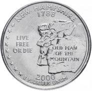 ХАЛЯВА!!! 25 центов США 2000г - штат Нью Гэмпшир, VF - Серия Штаты и территории
