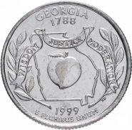 ХАЛЯВА!!! 25 центов США 1999г - штат Джорджия, VF - Серия Штаты и территории