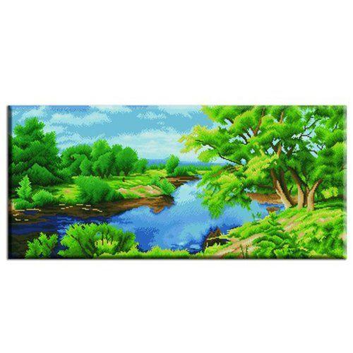 Вышивка крестом Лес и речка 35*70 см VS-0040