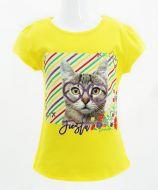 """Футболка для девочек Bonito kids """"Cat"""" 4-8 лет светло-желтая"""