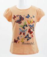 """Футболка для девочек Bonito kids """"butterflies"""" 4-8 лет персиковая"""