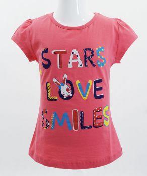 "Футболка для девочек Bonito kids ""Stars love smiles"" 4-8 лет малиновая"