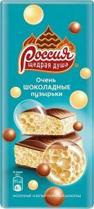 Шоколад РОССИЯ молочный и белый пористый 82г